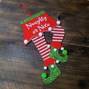 Naughty or nice sign elf Christmas hanging decor